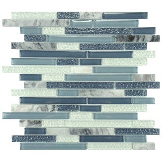 SomerTile 11.625x11.75-in Reflections Piano Gulf Glass and Stone Mosaic Tile (Pack of 10)