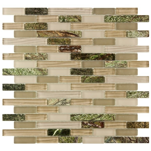 SomerTile 11.75x12-inch Reflections Piano Rainforest Glass and Stone Mosaic Wall Tile (Pack of 10)