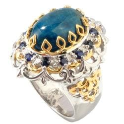 Michael Valitutti Two-tone Oval-cut Apatite and Blue Sapphire Ring