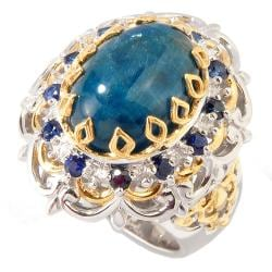 Michael Valitutti Two-tone Apatite and Blue Sapphire Ring