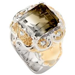 Michael Valitutti Two-tone Smokey Quartz and White Sapphire Ring