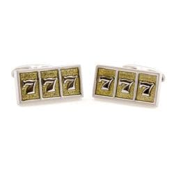 Cuff Daddy Silvertone Lucky Sevens Slot Machine Cuff Links