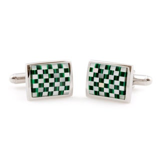 Cuff Daddy Silvertone Mother of Pearl and Malachite Cuff Links