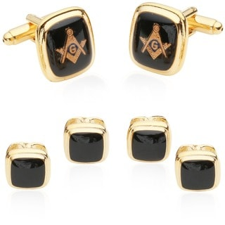 Cuff Daddy Goldplated Masonic 3-Pair Formal Cuff Link Set