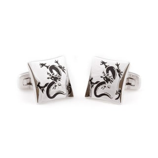 Cuff Daddy Silvertone Dragon Cuff Links