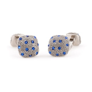 Cuff Daddy Silvertone Blue Crystal Pave Cuff Links