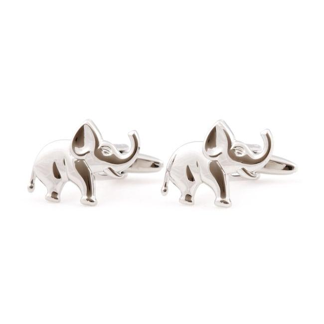Cuff Daddy Silvertone Silver Elephant Cuff Links
