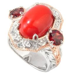 Michael Valitutti Two-tone Coral, Garnet and White Sapphire Ring
