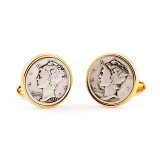 Cuff Daddy High-polish 14-karat Goldplated Mercury Dime Links
