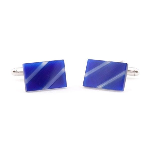Cuff Daddy Silvertone Blue Slash Glass Cuff Links