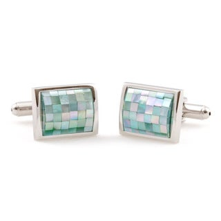 Cuff Daddy Silvertone Green Mother of Pearl Mosaic Cuff Links