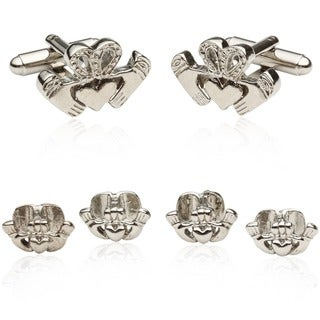Cuff Daddy Silvertone Claddagh Formal Cuff Link Set