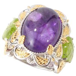 Michael Valitutti Two-tone Amethyst and Peridot Leaf Ring