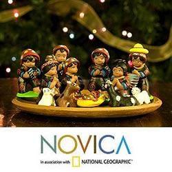 Set of 13 Ceramic 'Totonicapan' Nativity Scene (Guatemala)