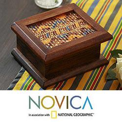 Wood and Cotton 'Maya Town' Decorative Box (Guatemala)