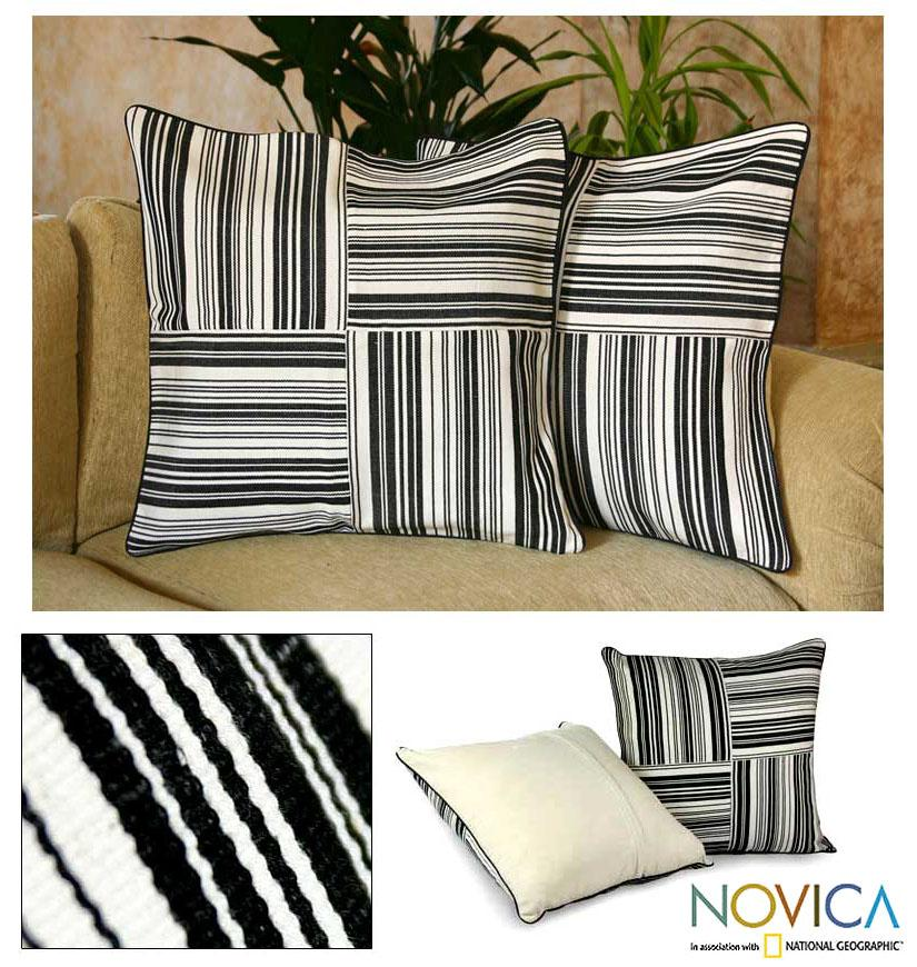 Set of Two Cotton 'Four Directions' Cushion Covers (Guatemala)