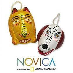 Set of 2 Cedar Wood 'Lion and Dog Dance Masks' Ornaments (Guatemala)