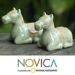 Set of 2 Celadon Ceramic 'Kneeling Horse' Figurines (Thailand)