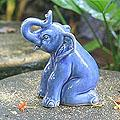 Celadon Ceramic 'Blue Elephant Welcome' Sculpture (Thailand)