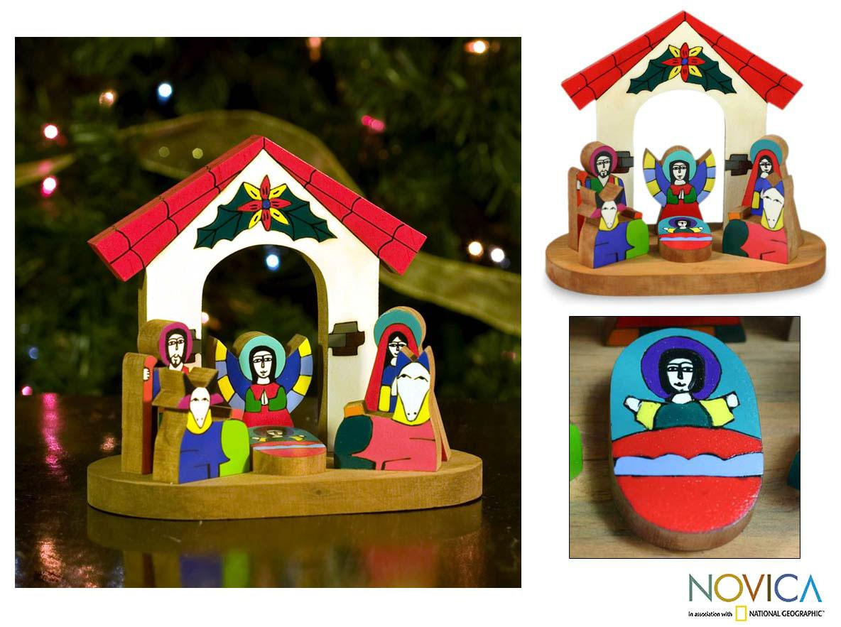 Handcrafted Pinewood 'Rejoice' Nativity Scene (El Salvador)