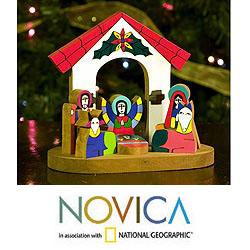 Handcrafted Pinewood 'Rejoice' Nativity Scene (El Salvador)