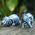Set of 2 Ceramic 'Playful Blue Elephants' Sculptures (Thailand)