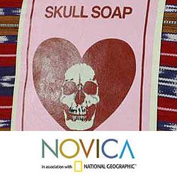 Cotton 'Skull Soap' Cushion Cover (Guatemala)