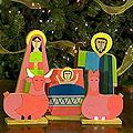 Handcrafted Pinewood 'Joy' Nativity Scene (El Salvador)