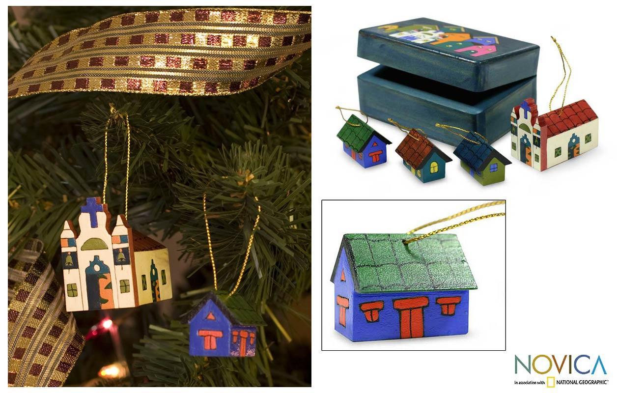 Set of 4 Pinewood 'Village' Ornaments (El Salvador)