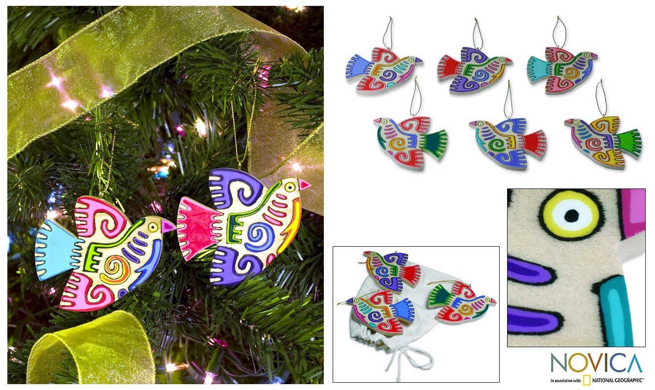 Set of 6 Pinewood 'Maya Bird' Ornaments (El Salvador)