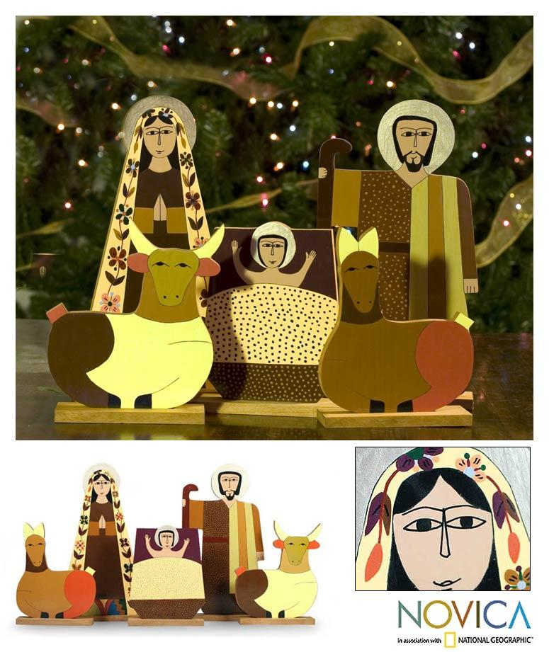 Handcrafted Pinewood 'Behold the Child' Nativity Scene (El Salvador)