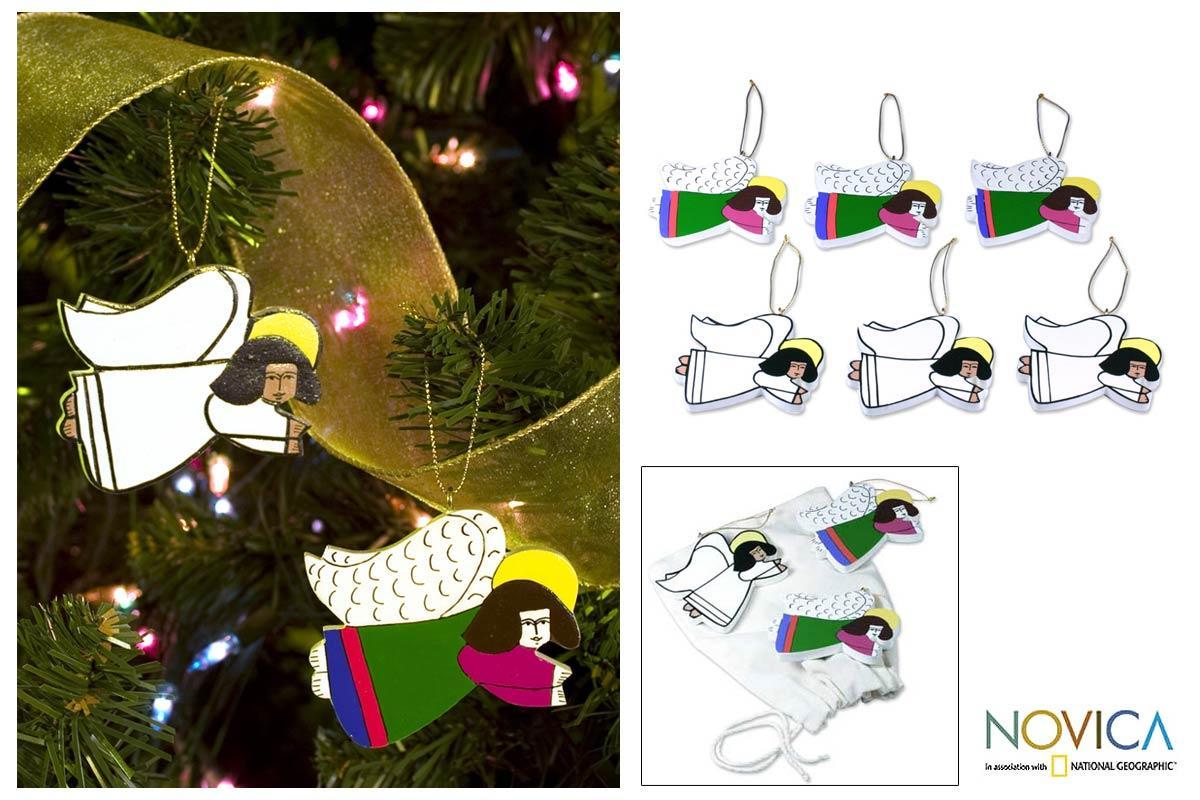 Set of 6 Pinewood 'Guardian Angels' Ornaments (El Salvador)