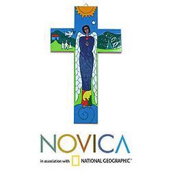 Handcrafted Pinewood 'Angel of Peace' Cross (El Salvador)