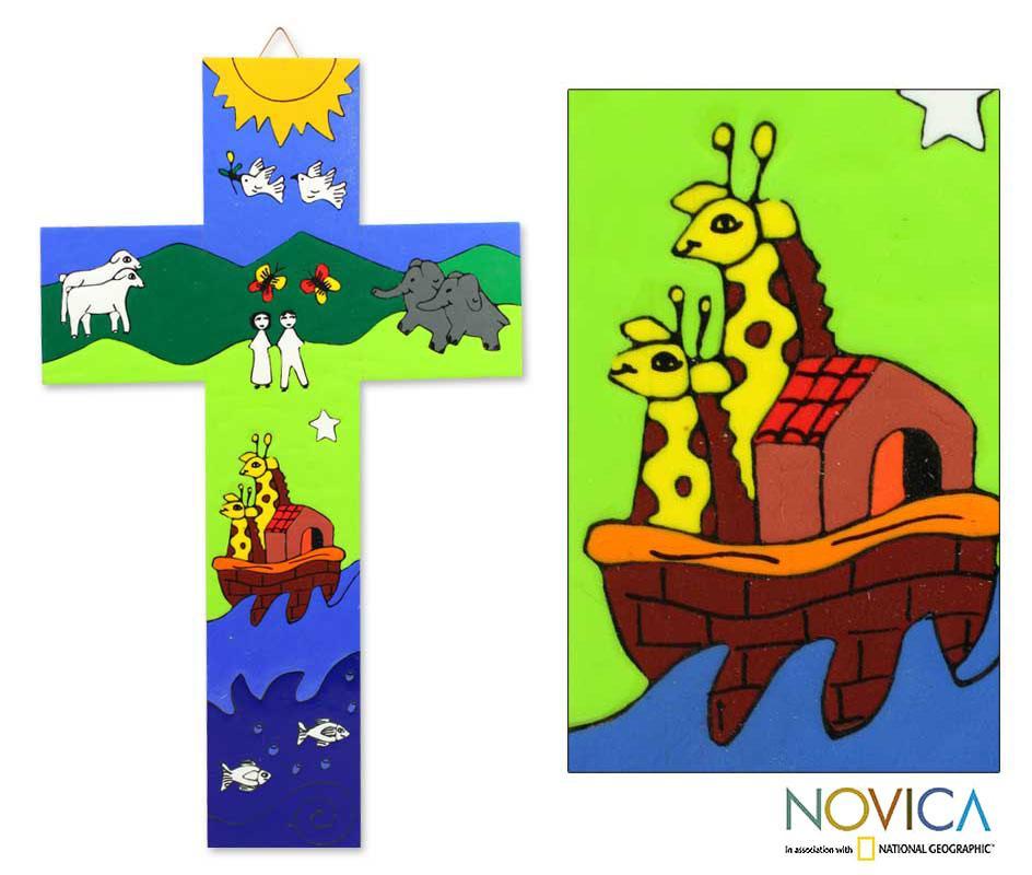 Handcrafted Pinewood 'Noah's Ark' Cross (El Salvador)