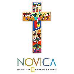 Handcrafted Pinewood 'My Family' Cross (El Salvador)