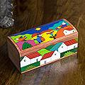 Handcrafted Pinewood 'My Village' Box (El Salvador)