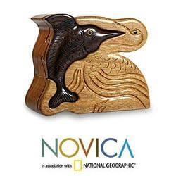 Mahogany and Ebony Wood 'Pelican and Sailfish' Puzzle Box (Guatemala)