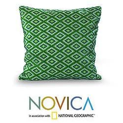 Cotton 'Emerald Quetzal' Cushion Cover (Guatemala)