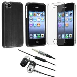 Black Case/ Headset/ Screen Protector for Apple iPhone 4
