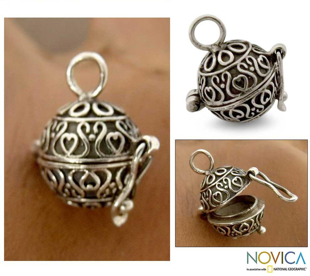 Sterling Silver 'My Prayers' Locket Pendant (India)