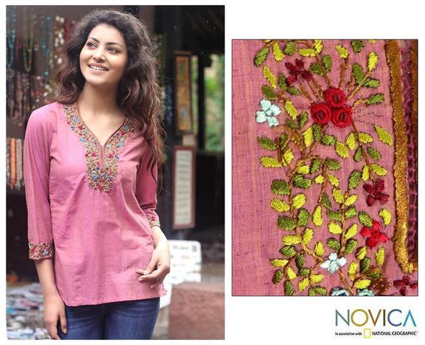 Cotton 'Rose Floral' Blouse (India)