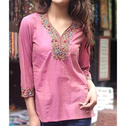 Cotton 'Rose Floral' Blouse (India)