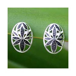 Sterling Silver 'Lotus Love' Coconut Shell Button Earrings (Thailand)