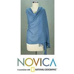 Angora Wool 'Azure Meditation' Shawl (India)