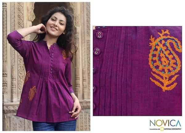 Cotton 'Wine Delight' Blouse (India)