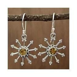Sterling Silver 'Sunshine Daze' Citrine Dangle Earrings (India)