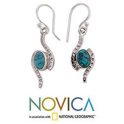 Sterling Silver 'Glistening Clouds' Magnesite Earrings (India)
