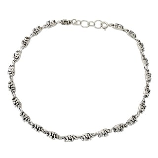 Sterling Silver 'Elephant Parade' Anklet (India)