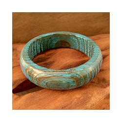 Mango Wood 'Delhi Skies' Bangle Bracelet (India)