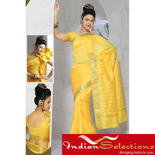 Yellow Golden Border Fabric Sari (India)